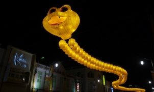 A snake decoration made up of lanterns at Chinatown, Singapore