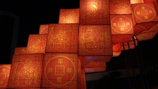Lanterns bearing the Chinese zodiac signs are seen at Chinatown, Singapore
