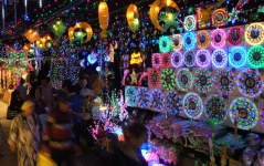 Lights are sold at a stall in a market