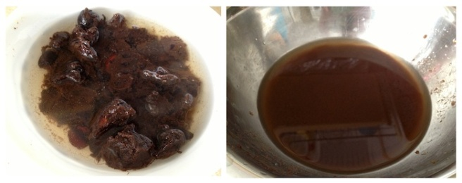 Tamarind pulp soaked in water on left and tamarind water of right