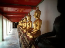 Buddha statues are seen in the royal palace in Bangkok